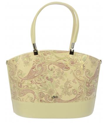 Béžová kabelka s bordovým etnickým vzorom V18ETN006BEI - Grosso