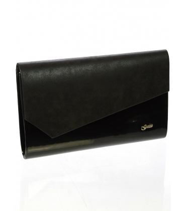 Čierna lakovaná  listová kabelka S18SL002BLC -  Grosso
