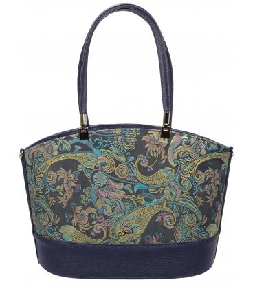 Tmavomodrá vystužená kabelka s etnickým vzorom V18ETN006BLU - Grosso