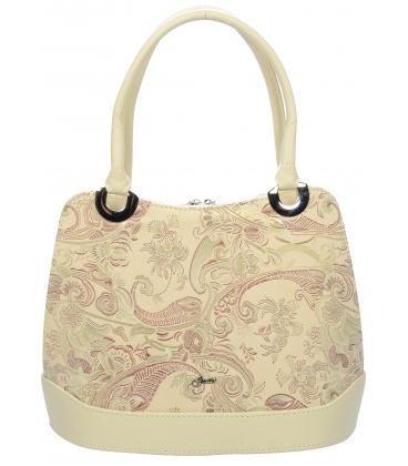 Béžová kabelka na rameno s etnickým vzorom V18ETN007BEI - Grosso