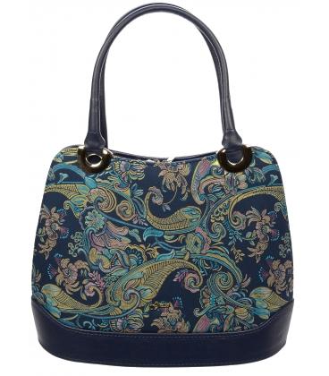 Tmavomodrá kabelka na rameno s etnickým vzorom V18ETN007BLU - Grosso