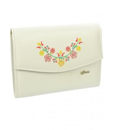 Biela listová kabelka s folklórnym vzorom S18SM003WHT -  Grosso