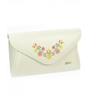 Biela väčšia listová kabelka s folklórnym vzorom S18SM003WHT -  Grosso