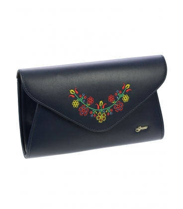 Tmavomodrá väčšia listová kabelka s folklórnym vzorom S18SM004BLU -  Grosso