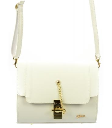 Biela crossbody kabelka so zlatým zapínaním C18SM016WHT - Grosso
