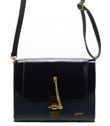 Modrá crossbody kabelka so zlatým zapínaním C18SM016BLU - Grosso