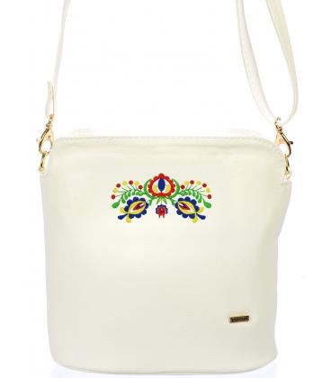 Biela oblá crossbody kabelka s folklórnym vzorom C18FOLK011WHT - Grosso