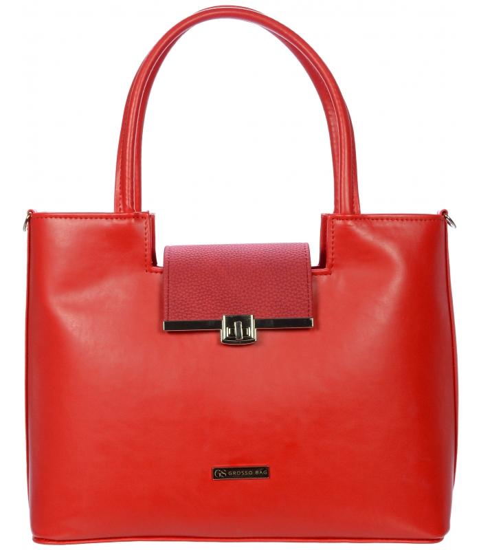 Červená vystužená kabelka V18SM011RED - Grosso - Grosso b6c4a23ca51