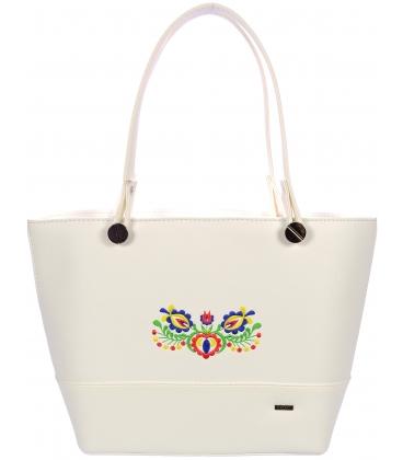 Biela kabelka s ľudovým vzorom V18ETN004WHT- Grosso