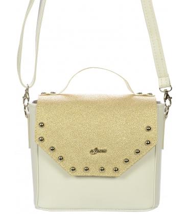 Bielo- zlatá crossbody kabelka so striebornými ozdobami C18SM014GLD  - Grosso