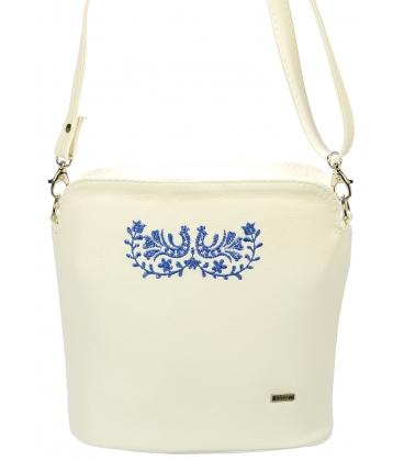 Biela oblá crossbody kabelka s modrým folklórnym vzorom C18FOLK011WHT - Grosso