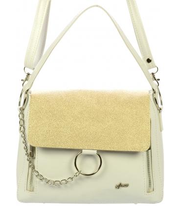 Bielo zlatá crossbody kabelka so striebornými doplnkami C18SZ018WHT - Grosso