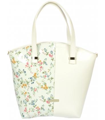 Biela kabelka s motívom kvetov V18SM007WHT