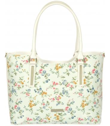 Biela vystužená kabelka s romantickou potlačou V18SM029WHT
