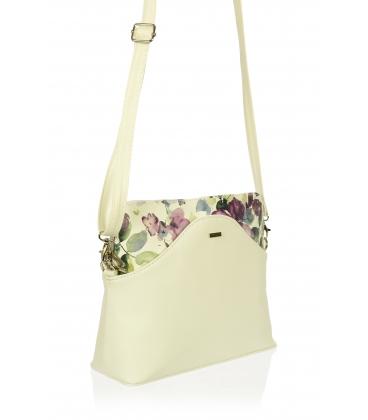 Biela crossbody kabelka s magnoliou C18SM010 WHT - Grosso