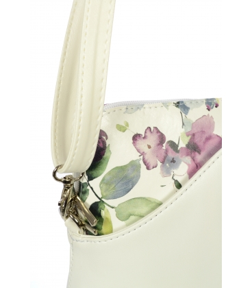Bílá crossbody kabelka s magnólií C18SM010 WHT - Grosso