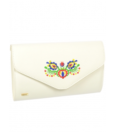 Biela spoločenská kabelka s folklórnym motívom S18SM004WHT - Grosso