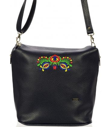 Černá crossbody kabelka s folklórním motivem C18SM011BLC - Grosso