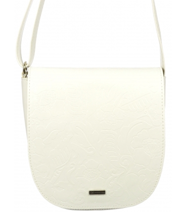 Biela crossbody kabelka s potlačou C18SM007WHT - GROSSO
