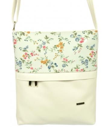 Biela crossbody kabelka s kvetovanou potlačou C18SM038WHT-GROSSO