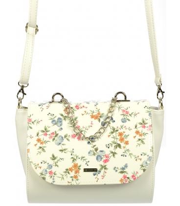 Biela crossbody kabelka s kvetovanou potlačou C18SM039WHT-GROSSO