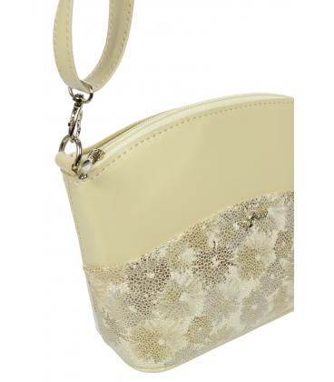 Béžová crossbody kabelka s motívom kvetov C18SM040BEI-GROSSO
