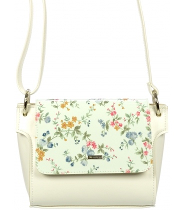 Biela crossbody kabelka s romantickým kvetinovým vzorom C18042WHT-GROSSO