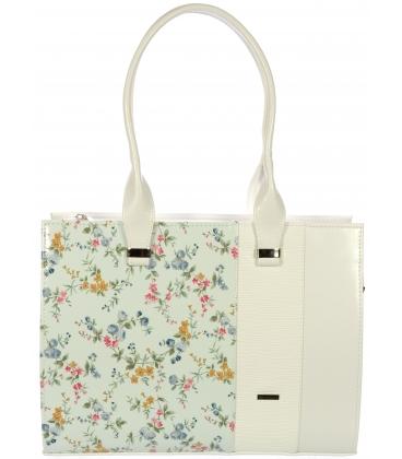 Biela kabelka s romantickým kvetinovým vzorom V18030 PNK-GROSSO