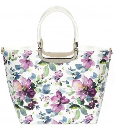 Biela vystužená kabelka s kvetmi magnólie V18SM002WHT - GROSSO
