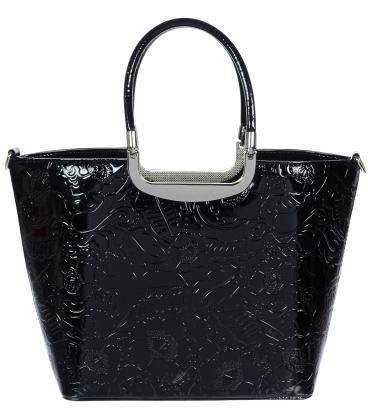 Čierna lakovaná kabelka s kvetinovou potlačou V18SL002BLC - GROSSO