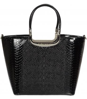 Čierna lakovaná kabelka s kroko vzorom V18SL002BLC - GROSSO