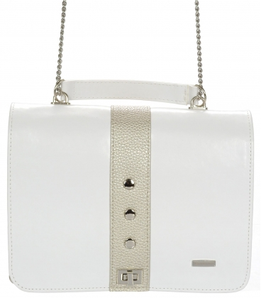 Biela crossbody kabelka na retiazke C18SM057WHT - GROSSO