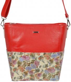 Červená crossbody kabelka s kvetinovou potlačou C18SM058 - GROSSO