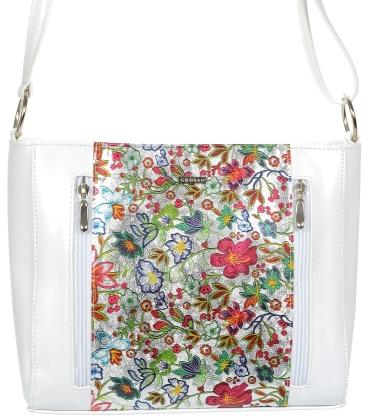 Biela kabelka s motívom kvetov V18SM060MLT - GROSSO
