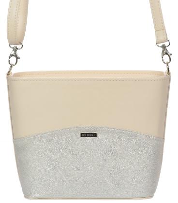 Pudrovo-strieborná kabelka C18SM062PNK - GROSSO