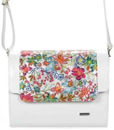 Biela crossbody kabelka s kvetinovým motívom C18SM042MLT - GROSSO