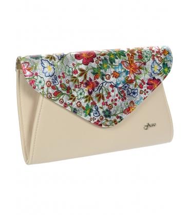 Béžová listová kabelka s kvetinovým motívom S18SM004BEI - GROSSO