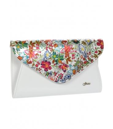 Biela listová kabelka s kvetinovým motívom S18SM004WHT - GROSSO