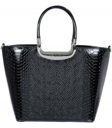 Čierna lakovaná kabelka s kroko motívom V18SL002BLC - GROSSO