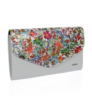 Biela listová kabelka s farebnými kvetmi S18SM004WHT - GROSSO