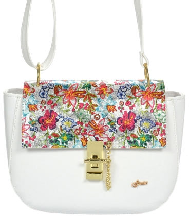 Biela crossbody kabelka s kvetinovou potlačou C18SM060WHT - GROSSO