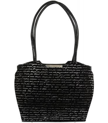 Černá elegantní kabelka s alfa potiskem V18SM069BLC - GROSSO