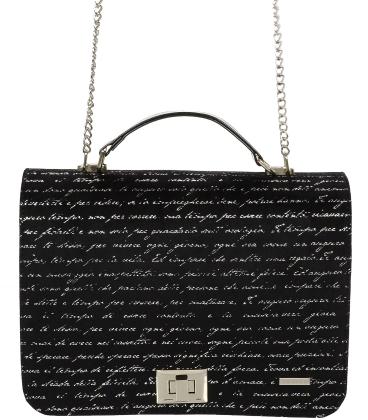 Čierna crossbody kabelka  s písmenkovou potlačou C18SM063BLC - GROSSO