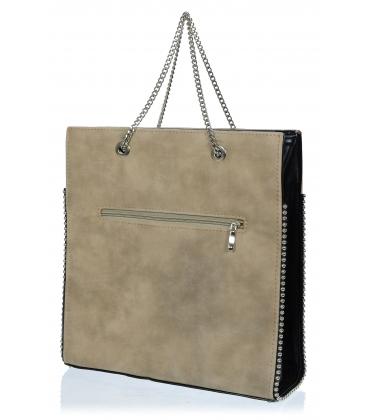 Bledohnedá kabelka so strieborným vybíjaním V18SZ062BRW - GROSSO