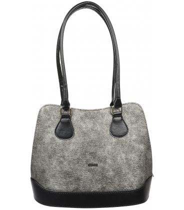 Strieborno-čierna elegantná kabelka V18SM071SLV - GROSSO