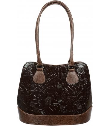 Tmavohnedá elegantná kabelka s kvetinovou potlačou V18SM071BRW - GROSSO