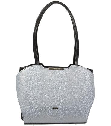 Strieborno-čierná elegantná kabelka V18SM069SLV - GROSSO