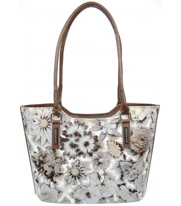 Hnedá elegantná kabelka s kvetinovou potlačou V18SM073BRW - GROSSO