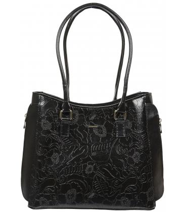 Čierna kabelka s kvetinovou potlačou a zipsami po stranách V18SM045BLC - GROSSO