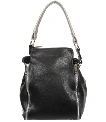 Čierna kabelka so striebornými zipsami V18SM076BLC - GROSSO